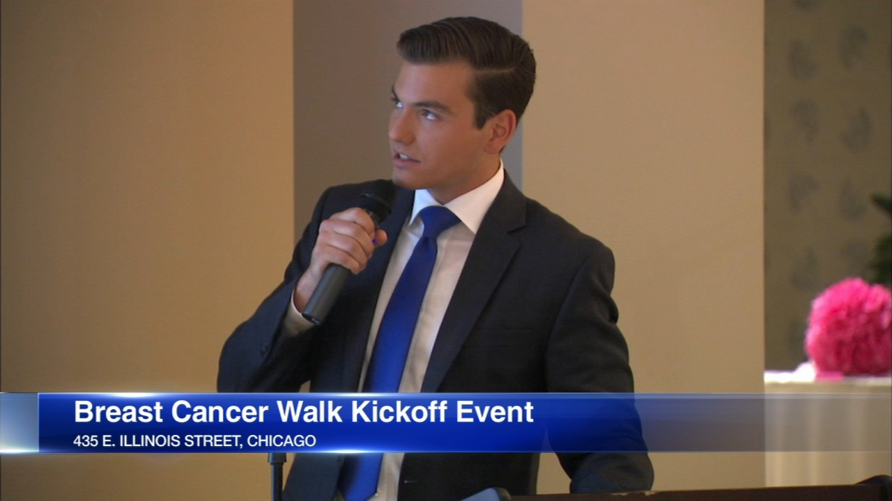 ABC7 Chicagos Mark Rivera emceed a kickoff event for this falls breast cancer walk Saturday.