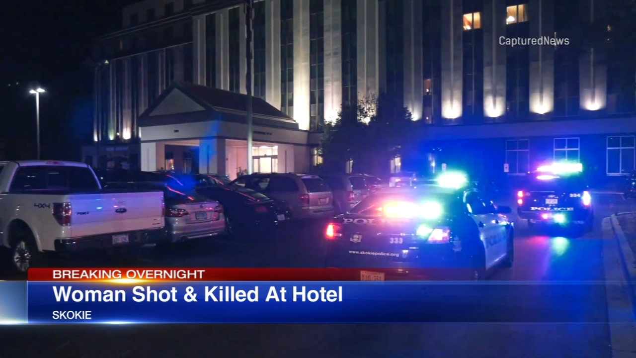 A wmoan was killed in a shooting at a hotel in Skokie.