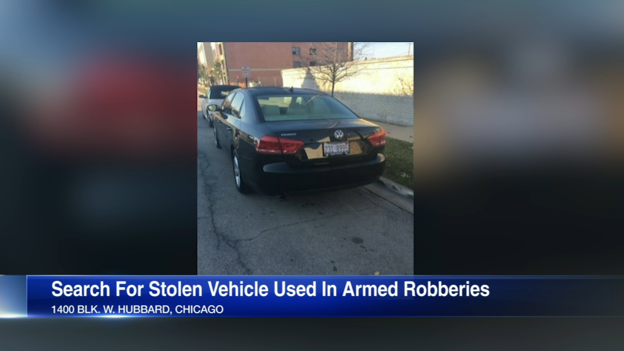 Police are looking for a stolen car they believe may have been used in armed robberies.