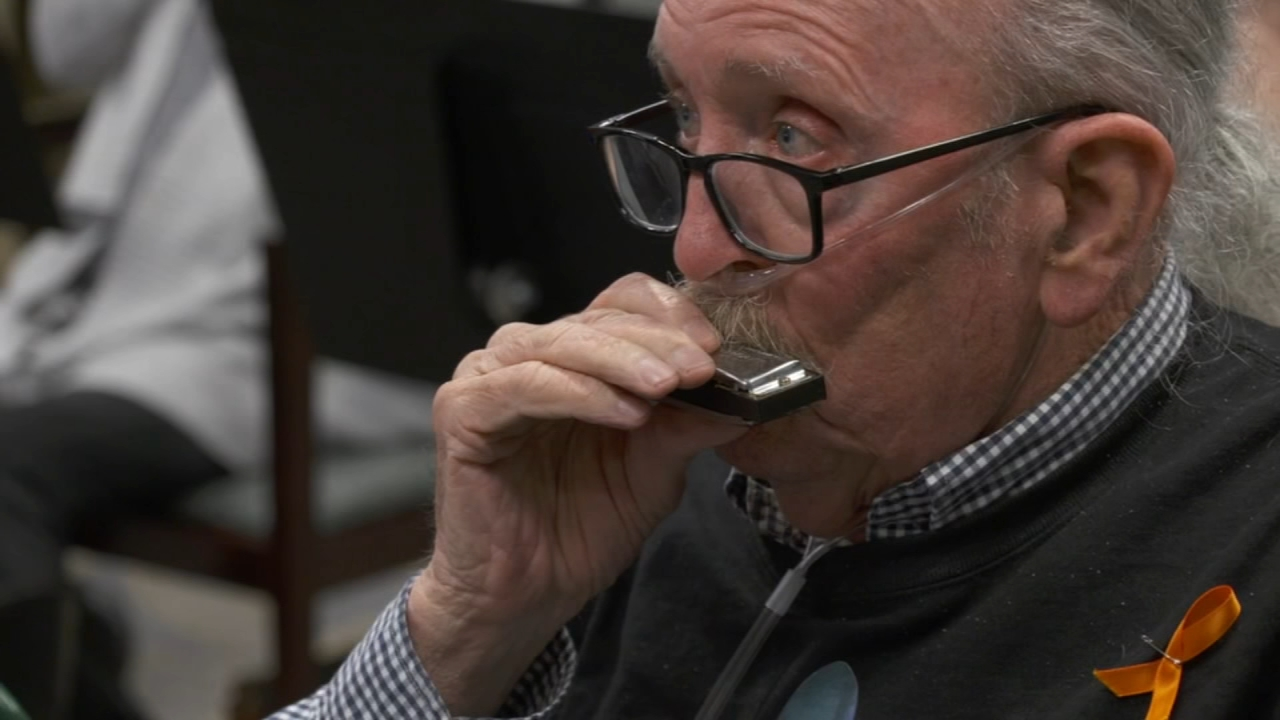 Therapists say playing harmonica exercises muscles needed to pull air in and push air out of the lungs.