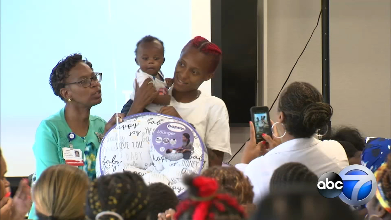 More than 100 moms were the guests of honor at a baby shower held Wednesday at St. Bernard Hospital in the Englewood neighborhood.