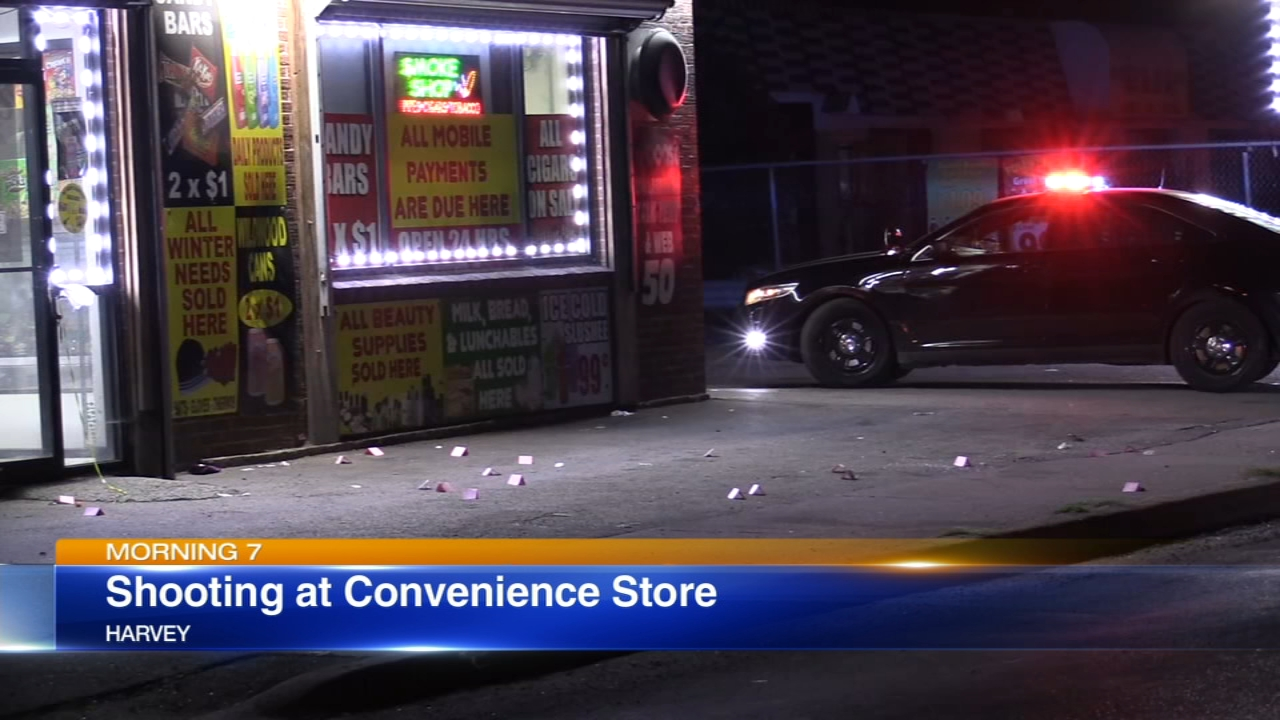 Police were investigating a shooting at a convenience store Tuesday night in south suburban Harvey.