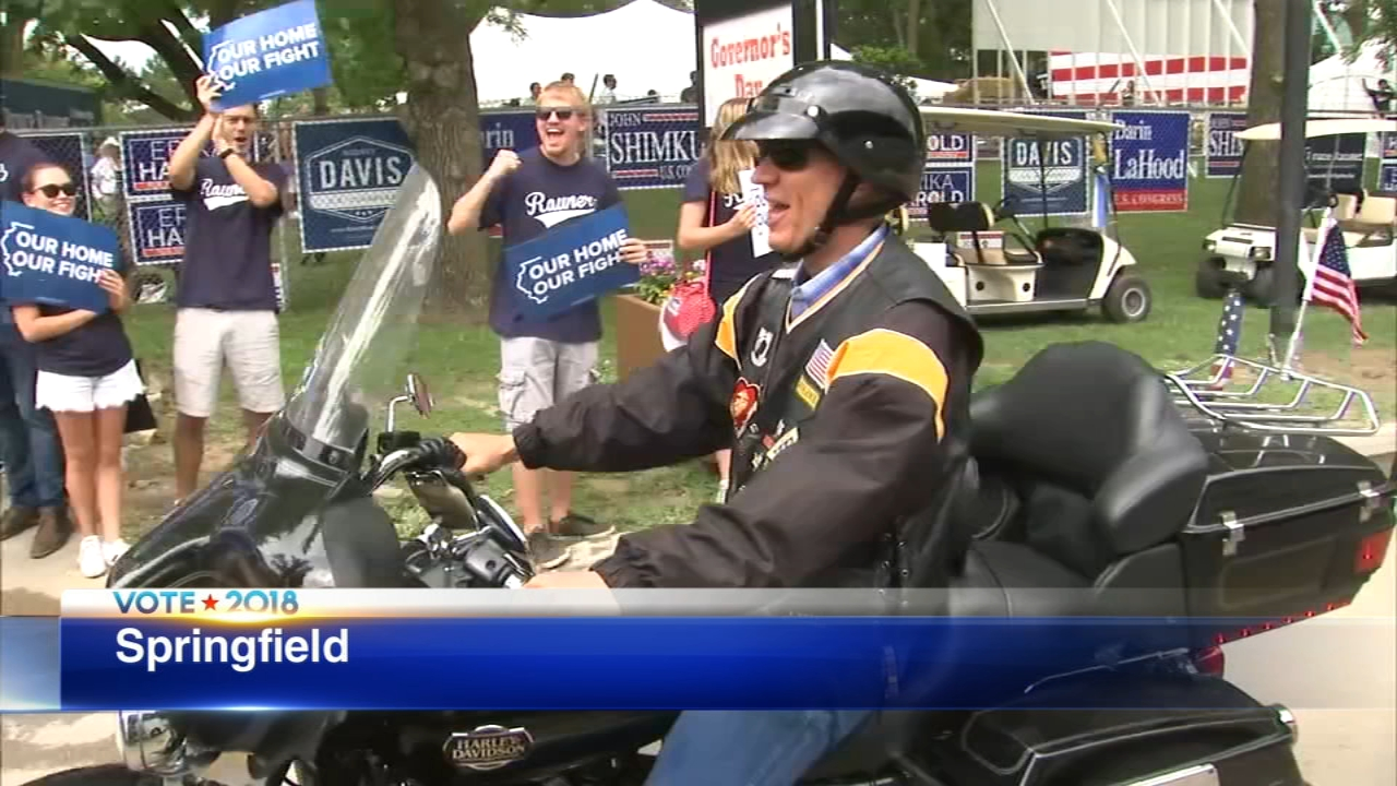 Gov. Bruce Rauner arrived to the Illinois State Fair on his Harley.