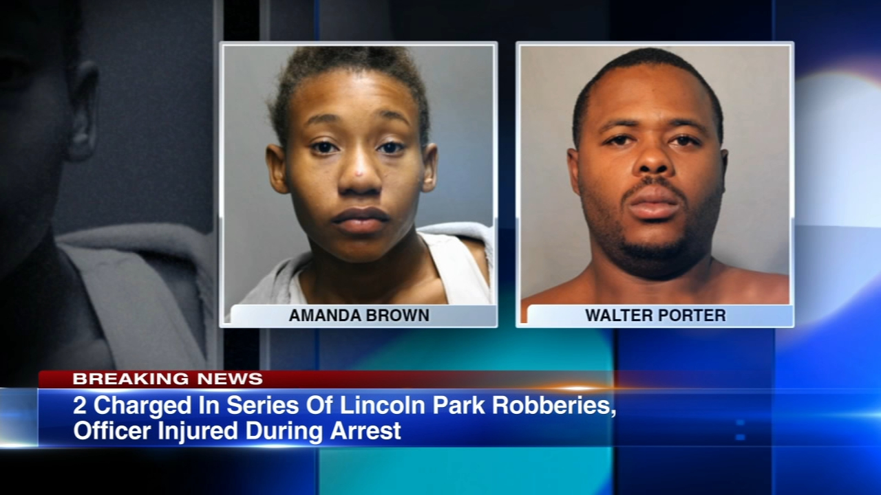 Police arrested a man and woman from Calumet City in connection with three robberies Tuesday night in the Lincoln Park neighborhood on the North Side.