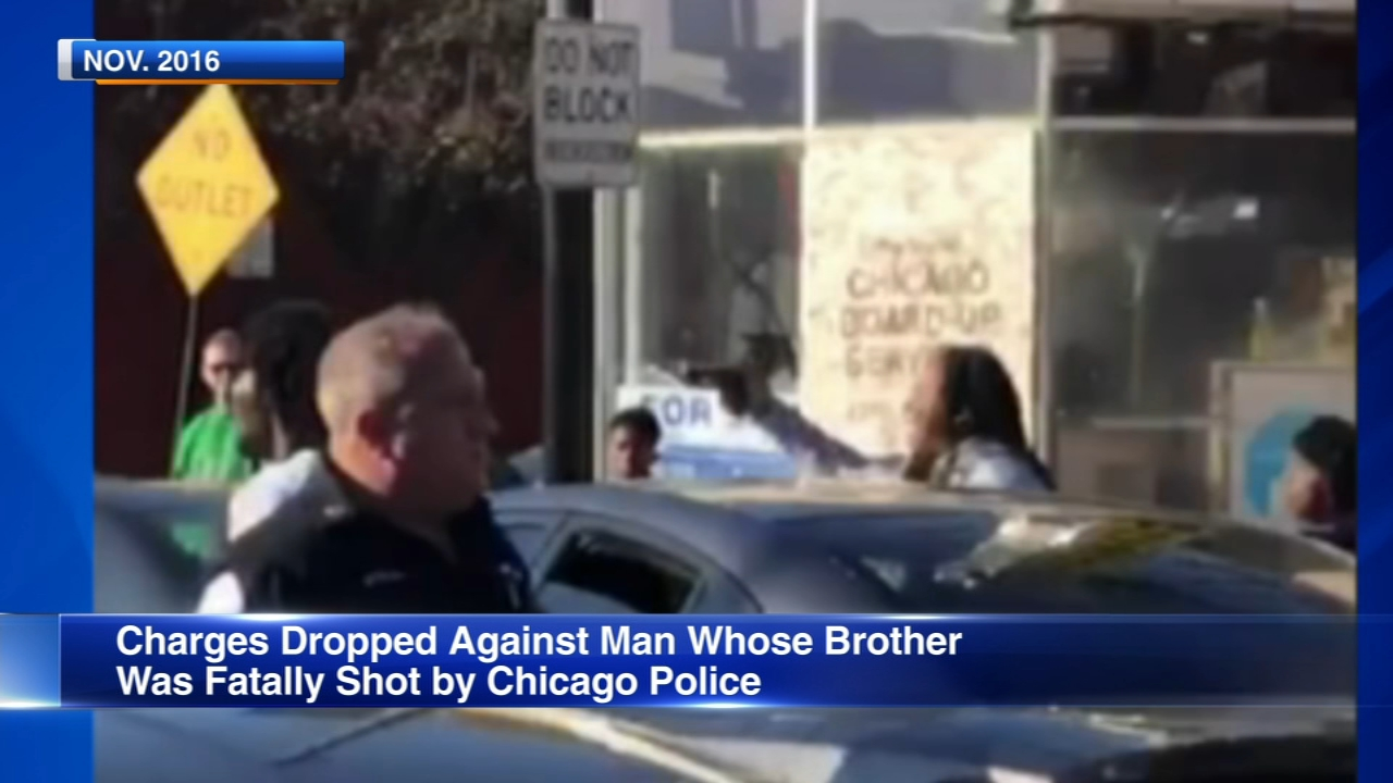 Prosecutors have dropped criminal charges against the brother of a man fatally shot by Chicago police during a confrontation with an off-duty firefighter.