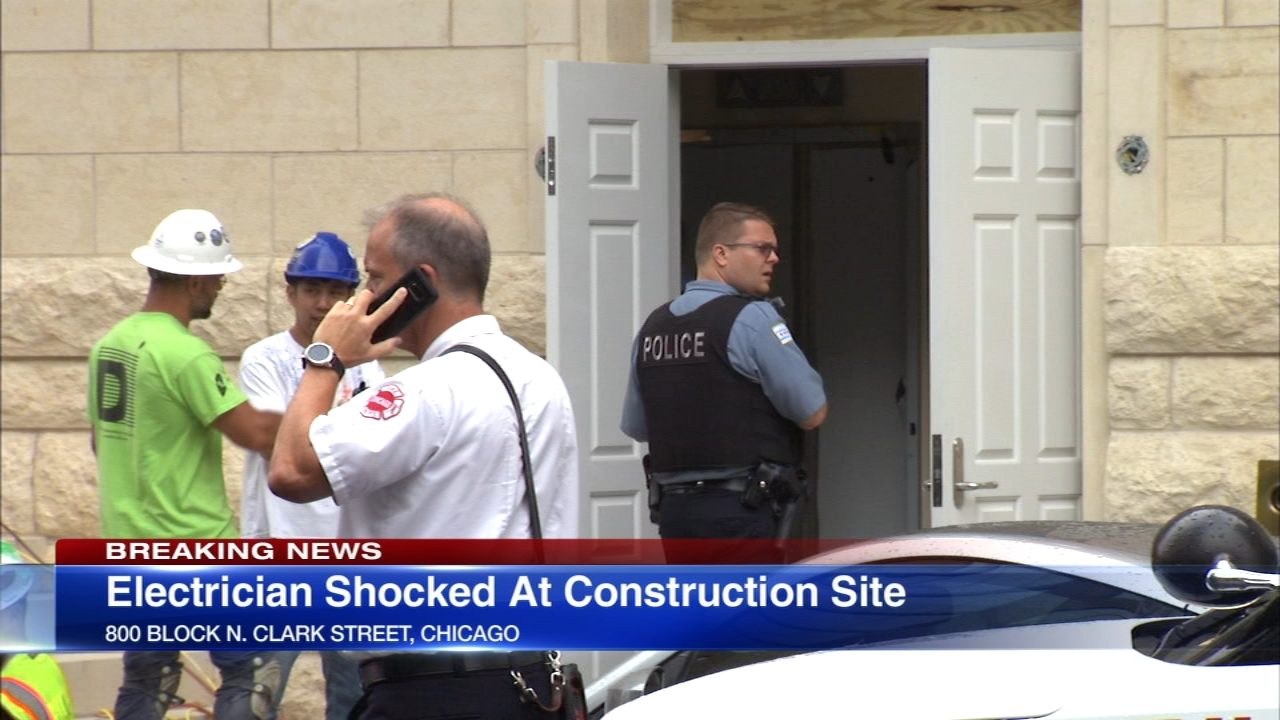 An electrician at a Near North Side construction site was critically injured after getting shocked Friday morning,authorities