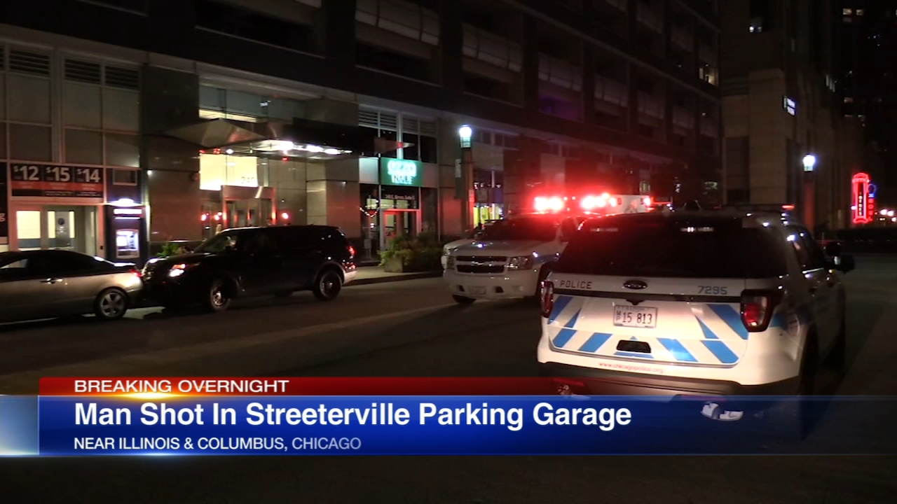 A man was critically wounded after he was shot in a parking garage early Friday in the Streeterville neighborhood.
