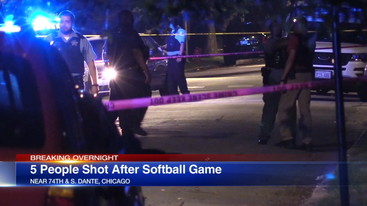 Five people were shot after a softball game in the Grand Crossing neighborhood Sunday night.