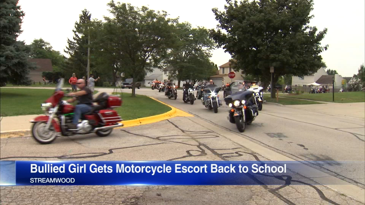 A middle school student who had been badly bullied last year was escorted to her first day of classes Monday by a group of bikers.
