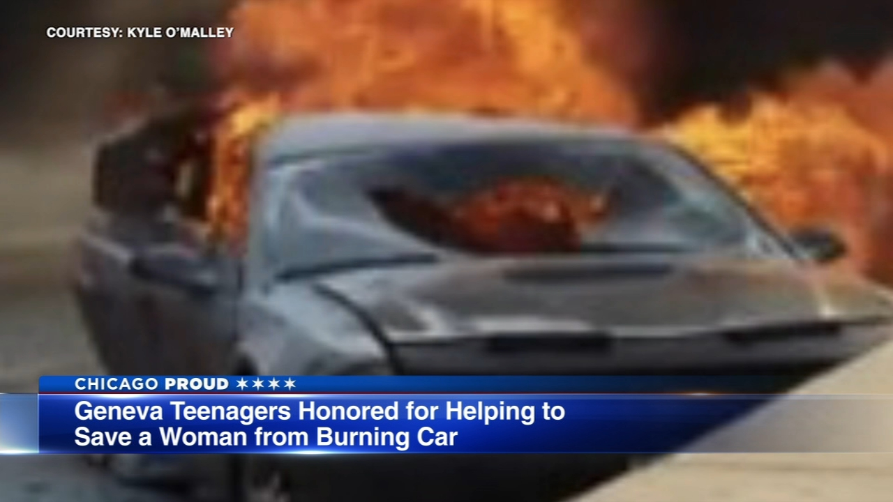 Two west suburban teens were honored Monday night for risking their lives to help save a woman.