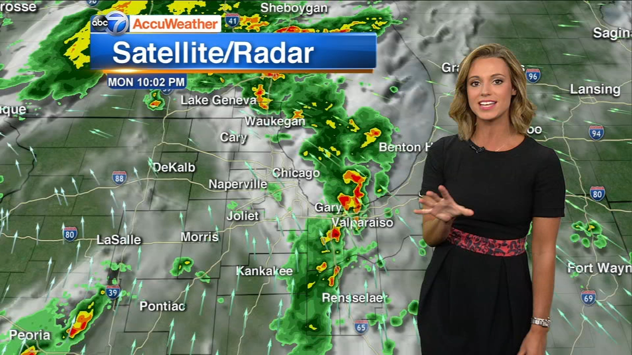 Storms and heavy rain moved through the Chicago area Monday evening, with a chance that severe storms may develop.