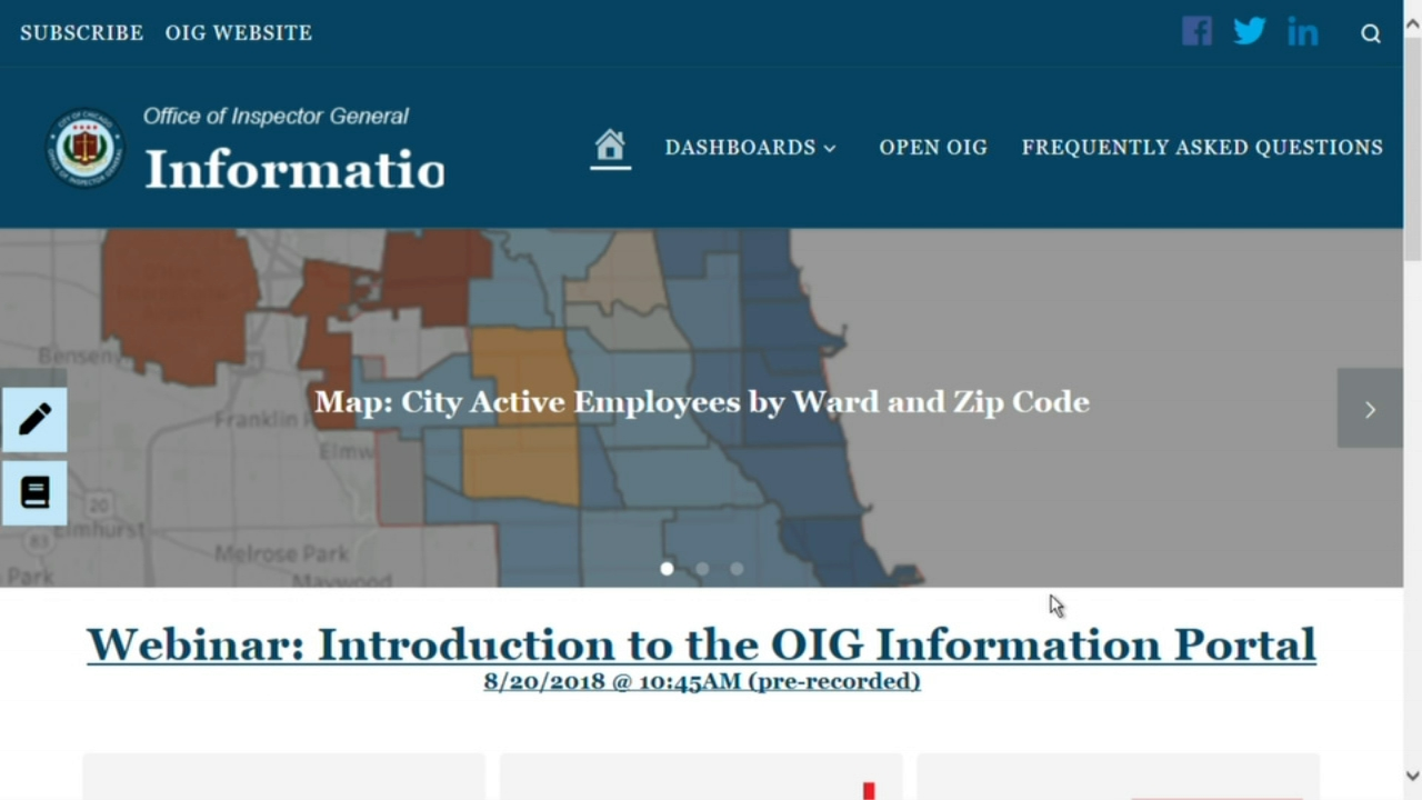 A new online information portal, which includes Chicago public data, was launched on the citys website, the Office of the Inspector General (OIG) announced Monday.