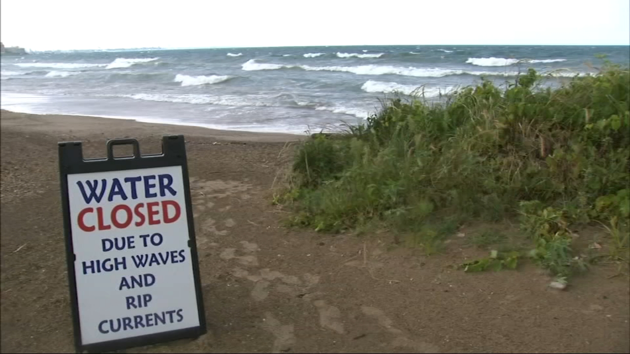 Swimmers were warned to stay out of the water in some areas of Lake Michigan again on Tuesday.