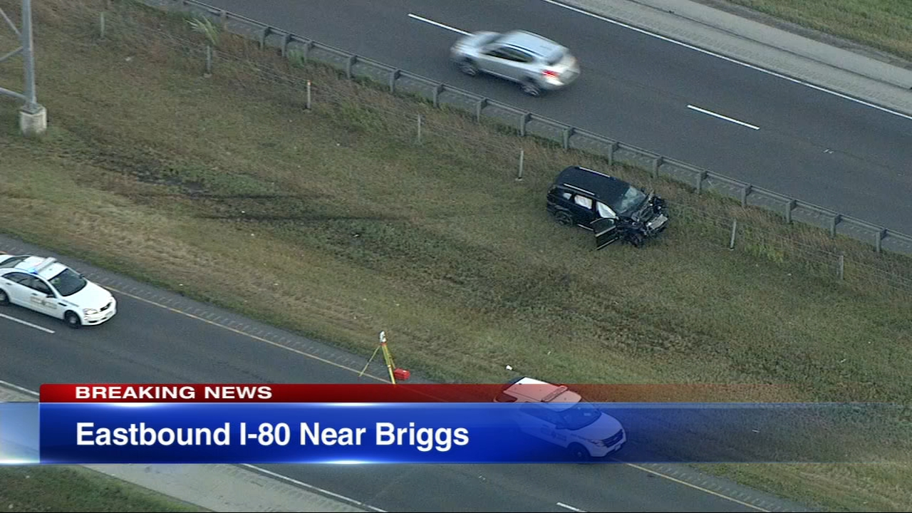 A 42-year-old man died after a crash on eastbound I-80 just east of Briggs Street that caused traffic to back up for miles during the Wednesday morning rush.