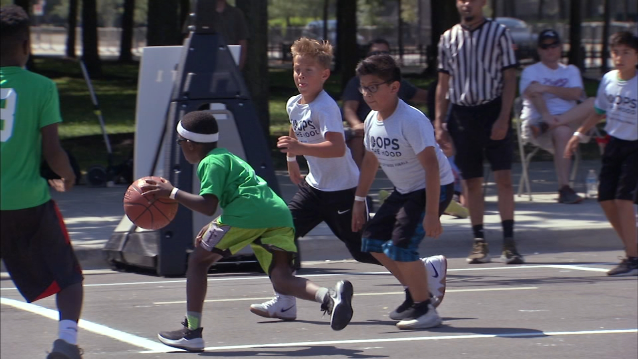 Hundreds of Chicago youth basketball players converged downtown for Hoops in the Hood Thursday.