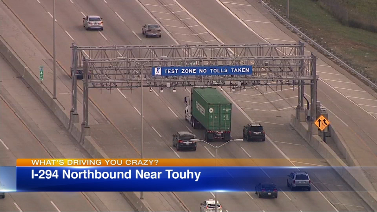 This weeks question is about the overhead grid on the Tri-State Tollway near Touhy Avenue.