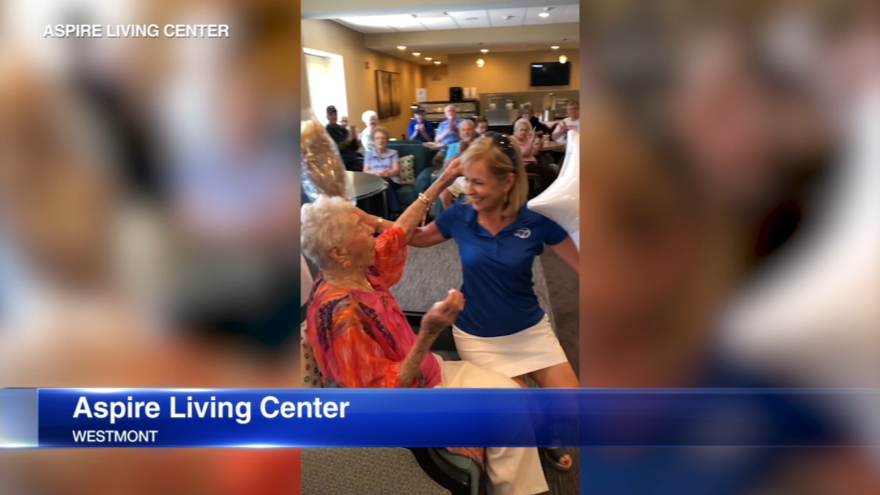 ABC7 Meteorologist Tracy Butler surprised a woman at Aspire Living Center in southwest suburban Westmont for her 100th birthday.