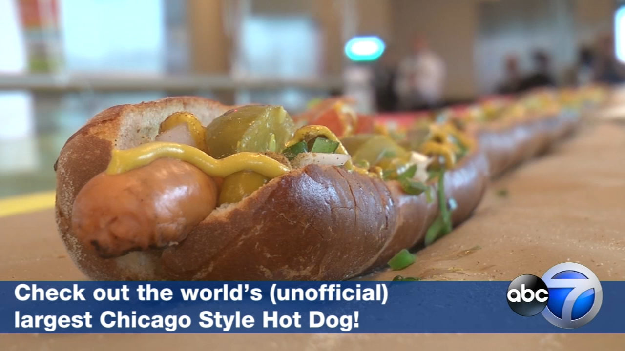 Marianos garnished what it believes to be the worlds largest Chicago Style Hot Dog: a 44-foot-long frankfurter topped off with the classic condiments.