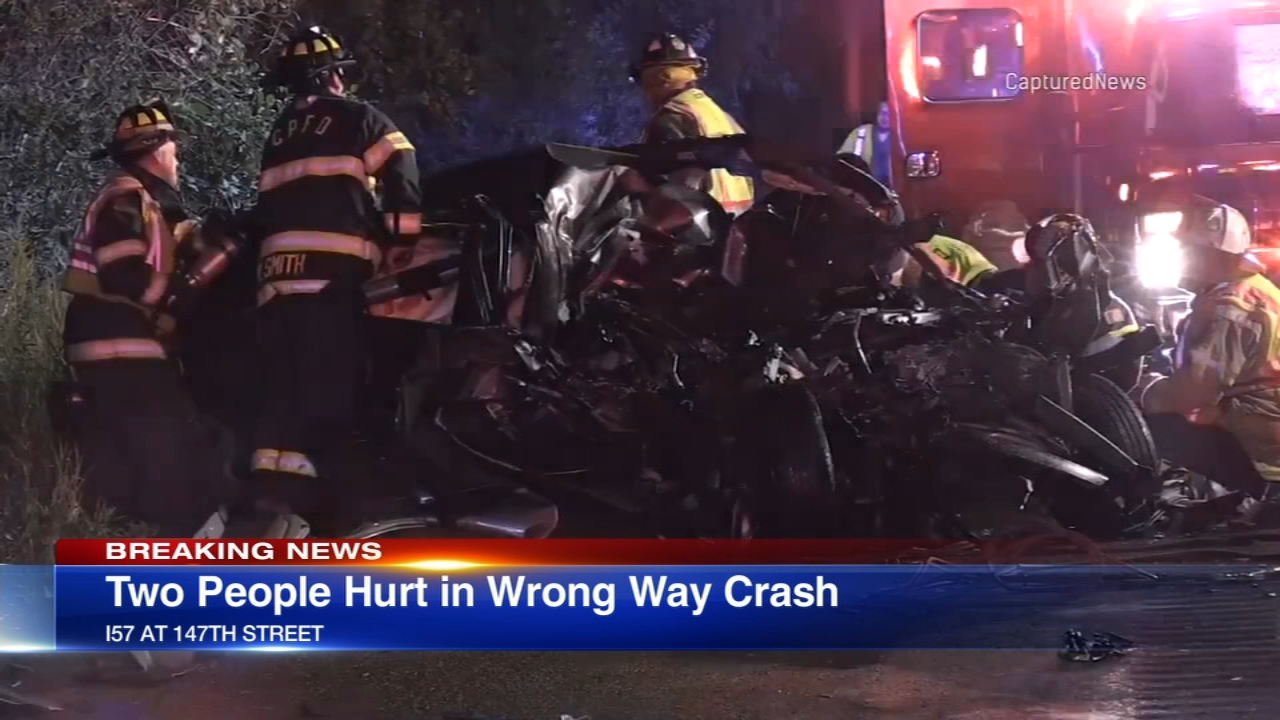 Two people were injured in a wrong-way crash on I-57 Saturday morning.
