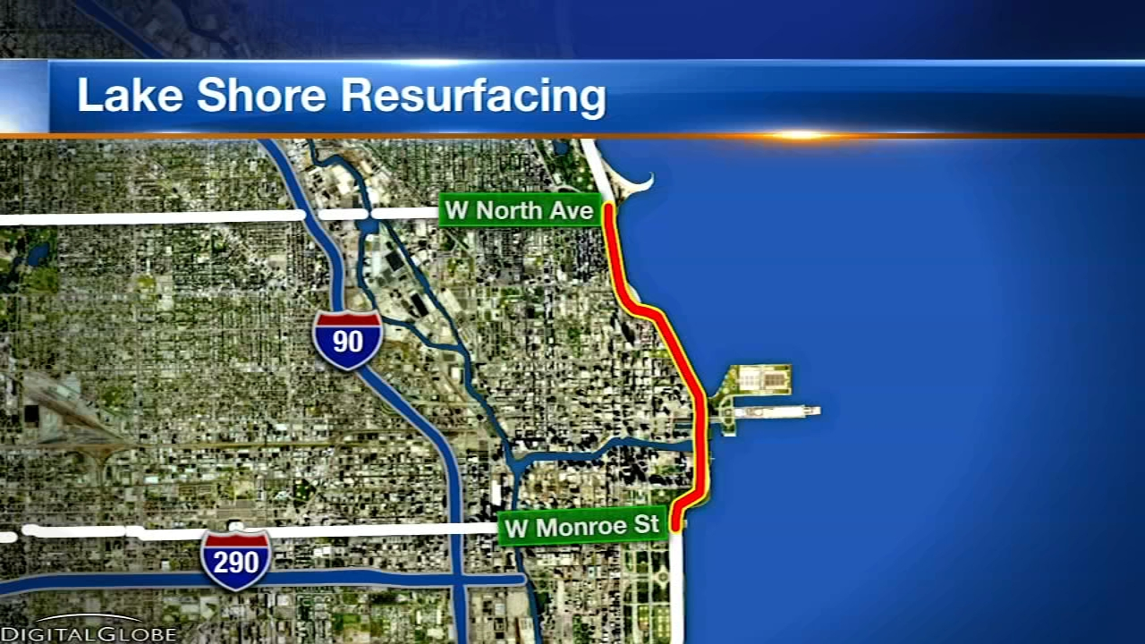 Crews will start closing lanes Sunday evening on Lake Shore Drive.