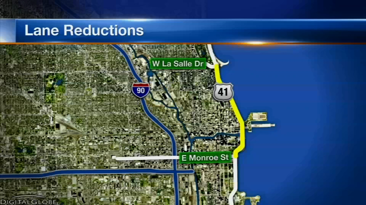 Lanes on North Lake Shore Drive will be reduced until October 6, 2018 for a repaving project.