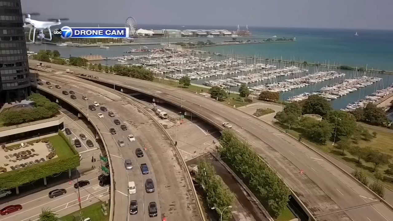 Get a birds-eye view of the repaving project underway on Lake Shore Drive from the ABC7 Drone Cam.