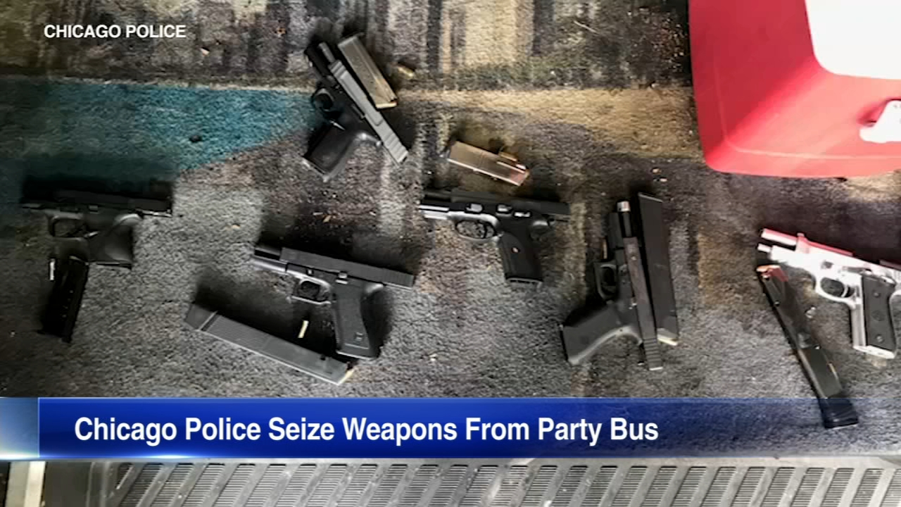 Chicago police seized multiple weapons from a party bus in the Kennedy Park neighborhood on the South Side Tuesday.