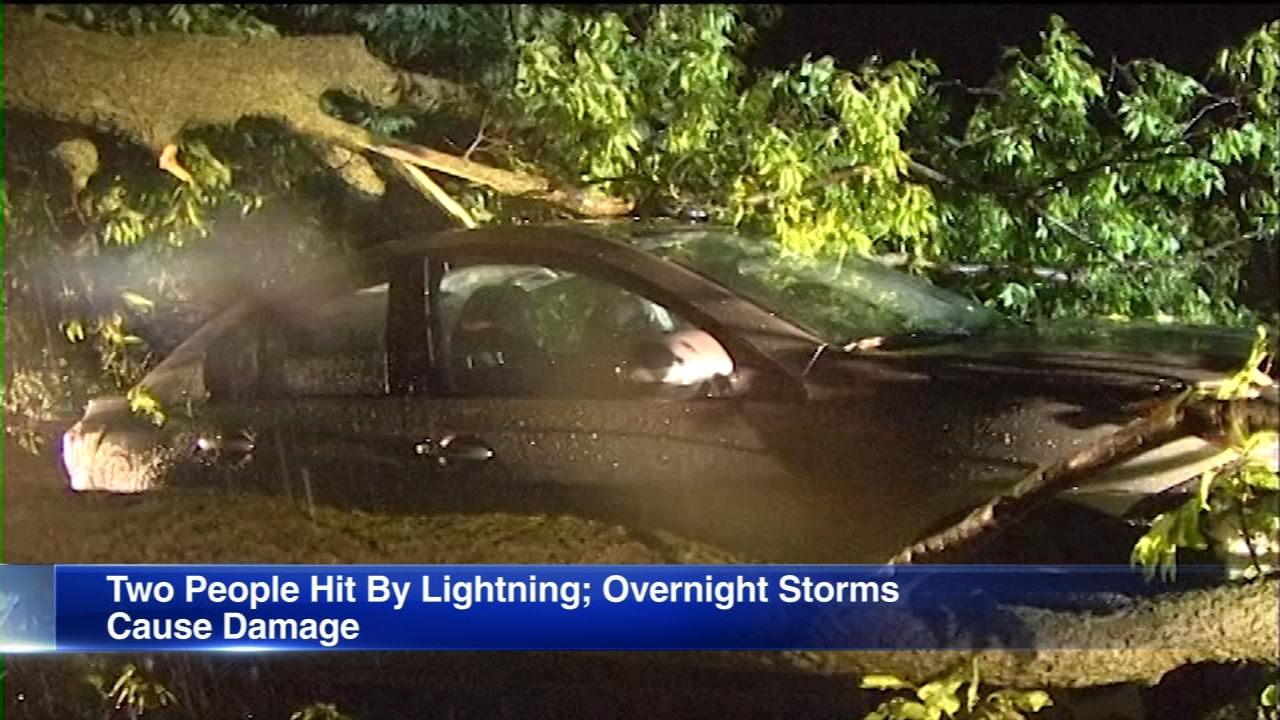 Two people were struck by lightning in Highland Park as storms mvoed across the Chicago area overnight.
