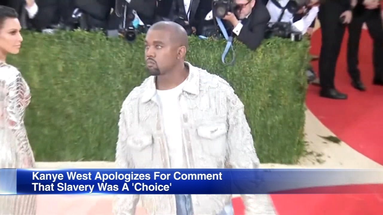 Kanye West has apologized for saying slavery was a choice.
