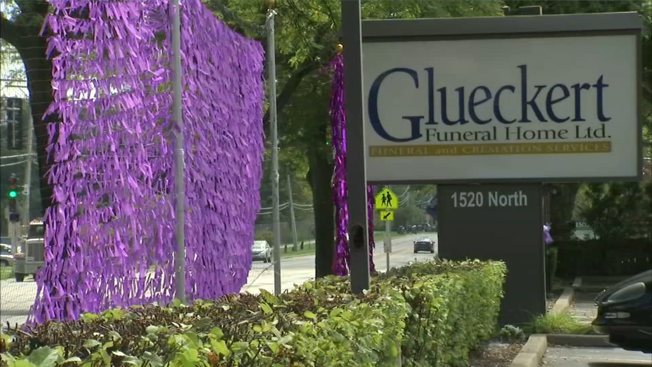 Outside Arlington Heights Glueckert funeral home are over 2,000 purple ribbons, each represent people projected to die this year in Illinois of a drug overdose. So Far, Glueckert