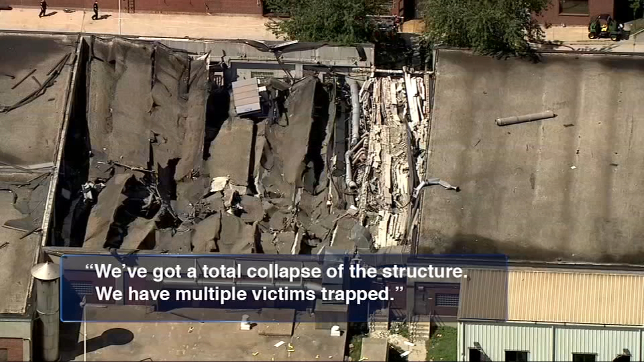 Workers were using a torch before an explosion and collapse at a Chicago water reclamation plant on the Far South Side Thursday, the Chicago Fire Department said.
