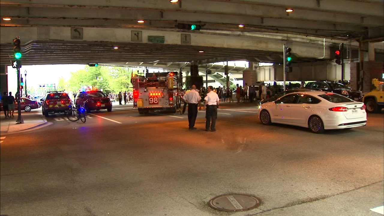 A taxi struck eight people Saturday afternoon near Navy Pier.