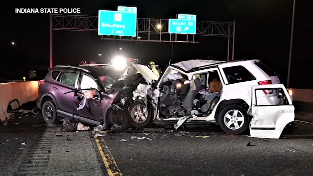 A 25-year-old Calumet City woman was driving the wrong-way on the Illinois Toll Road before she crashed into a familys Jeep.