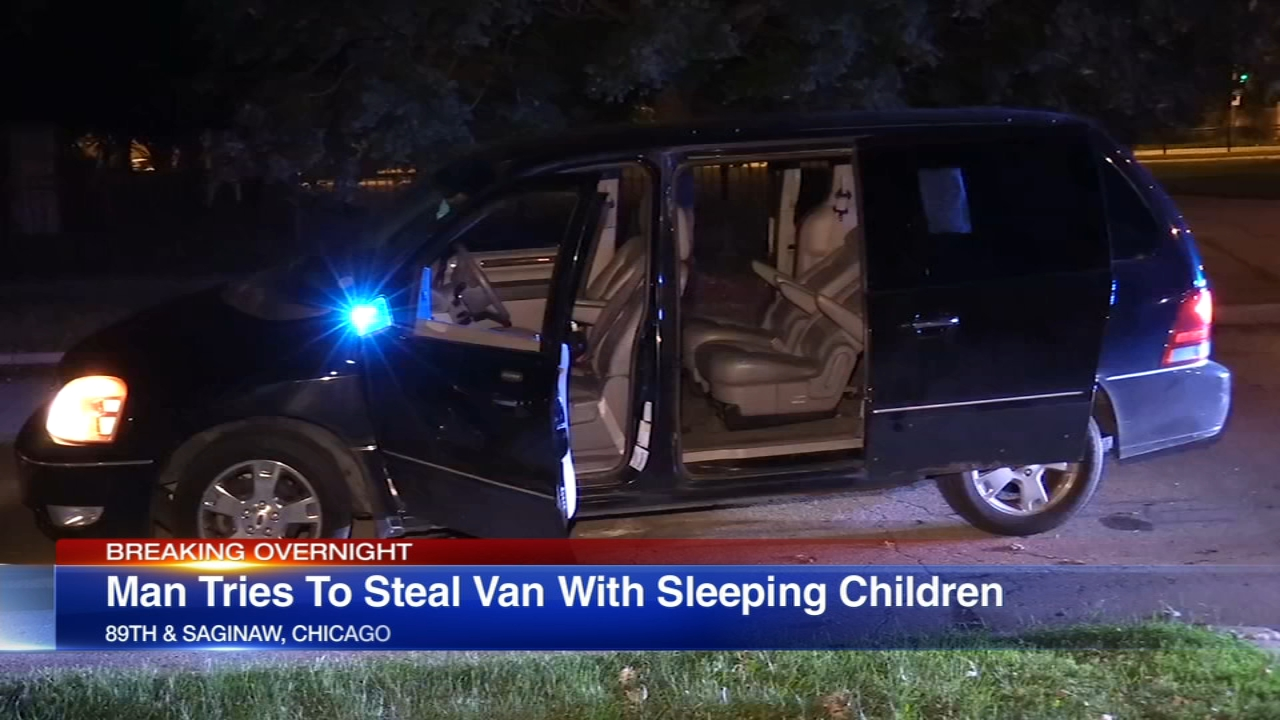 A minivan full of sleeping children was stolen in South Chicago early Sunday.