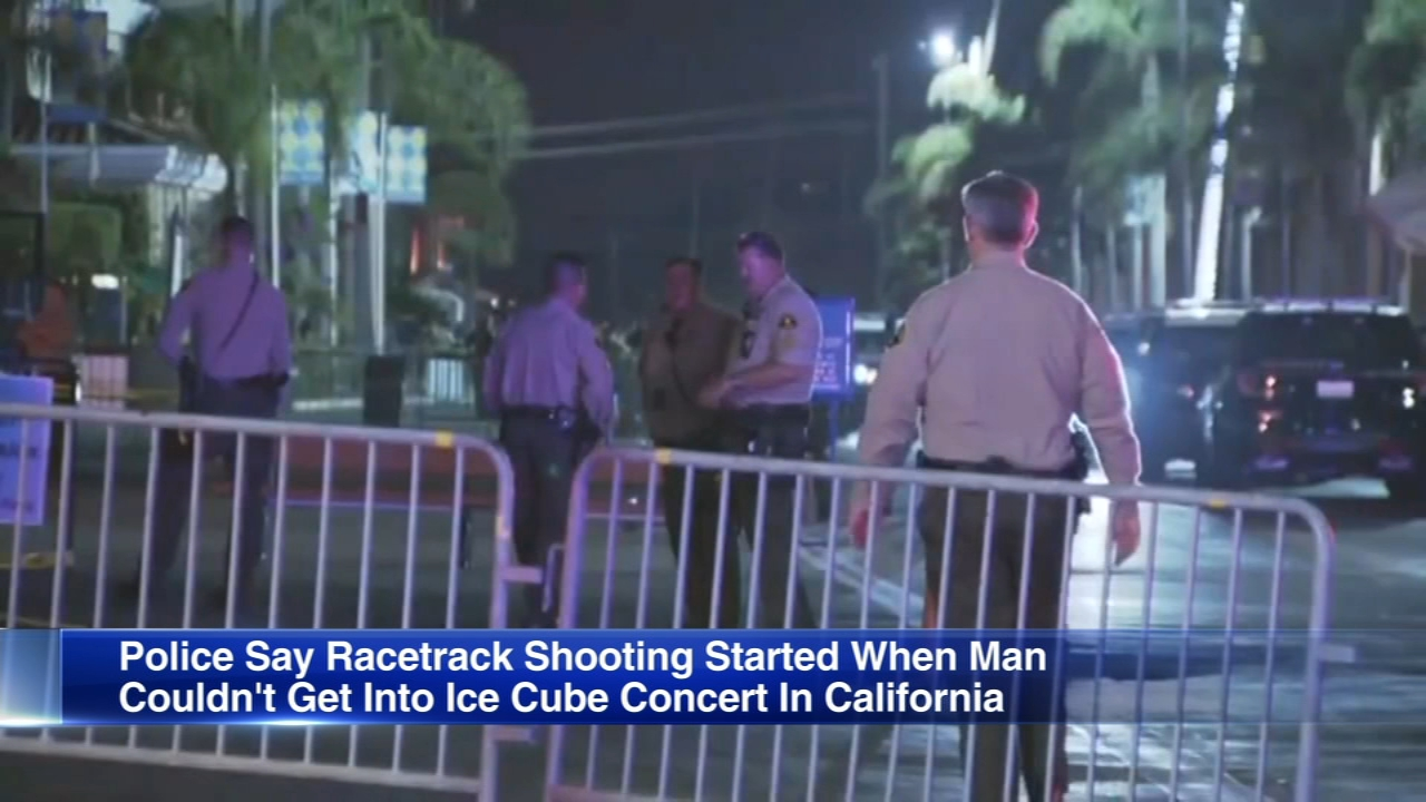 In San Diego, police shot a man, who was angry because he couldnt get into an Ice Cube concert at a racetrack.