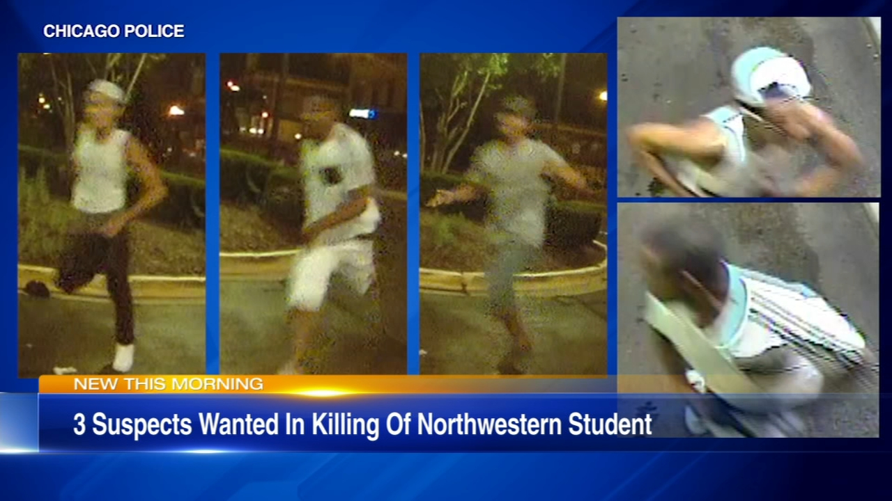 New surveillance photos of suspects wanted in connection with the shooting of a Northwestern University doctoral student.