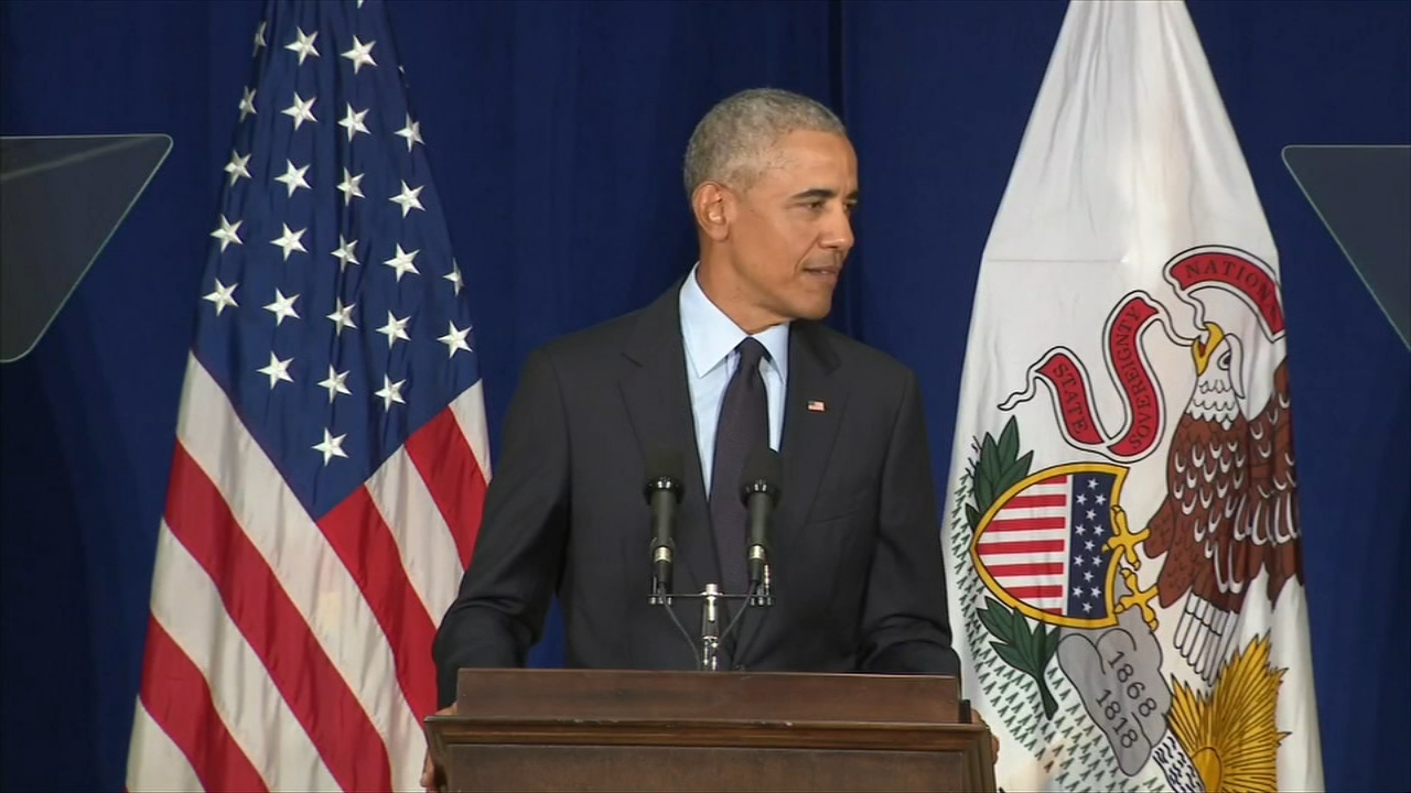 Former President Barack Obama rallied voters at the University of Illinois Friday.