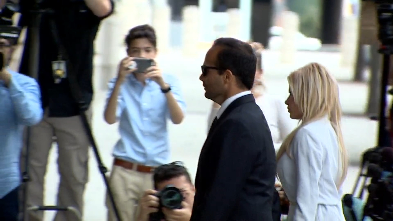 George Papadopoulos and his wife Simona arrive at the federal courthouse in Washington on Friday for his sentencing.
