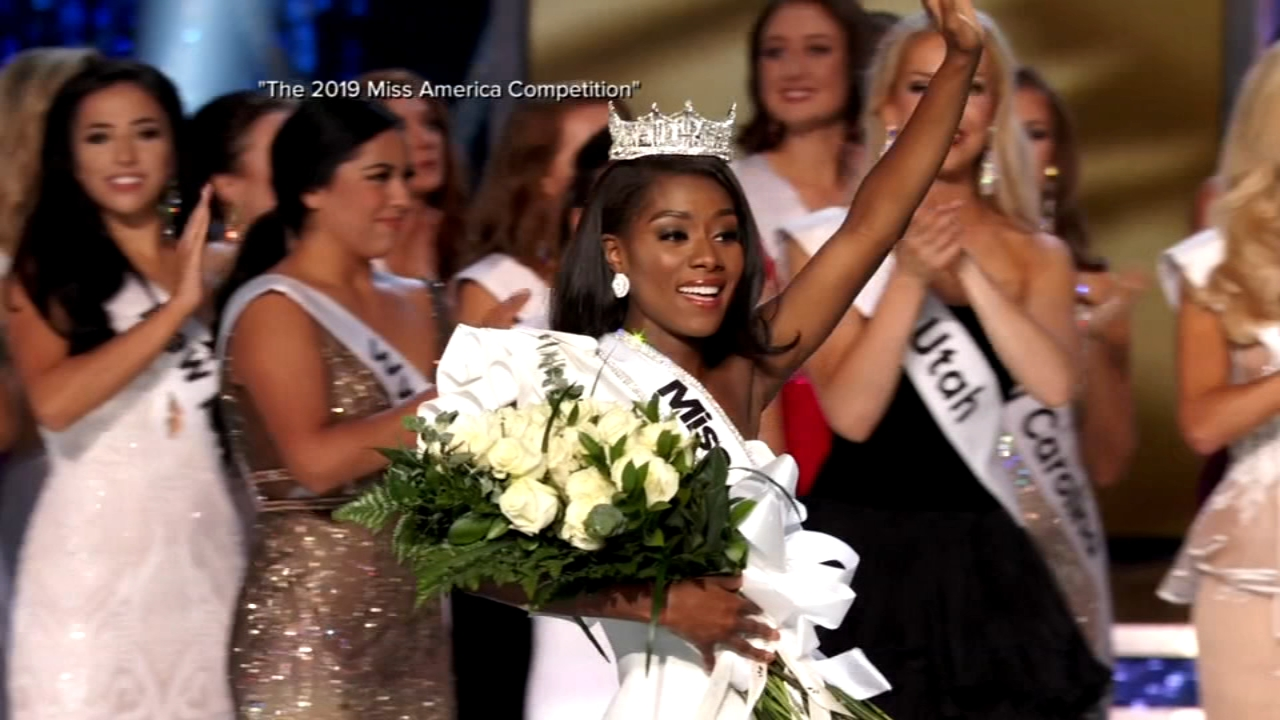 Miss New York Nia Imani Franklin won a $50,000 scholarship along with the crown in the first Miss America pageant to be held without a swimsuit competition.