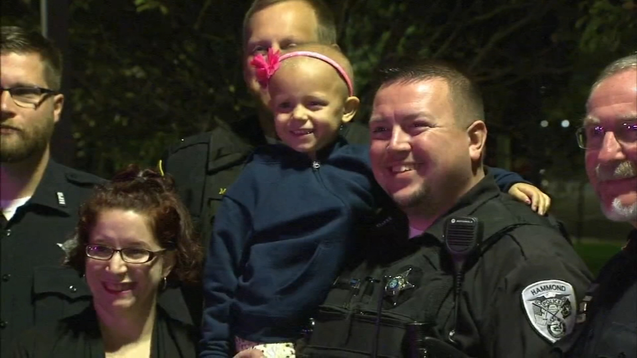 Sammy, 5, was escorted to her chemotherapy treatment at an Indianapolis hospital.