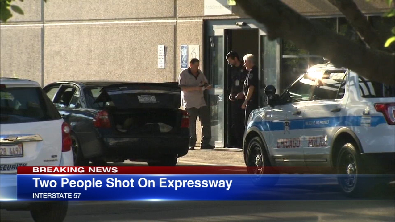 Two people were shot Tuesday afternoon while driving southbound on I-57 near Halsted, police say.