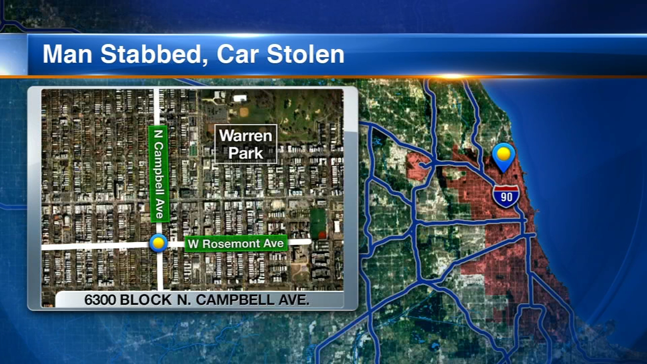 A 62-year-old man was stabbed and carjacked in West Rogers park Tuesday night.