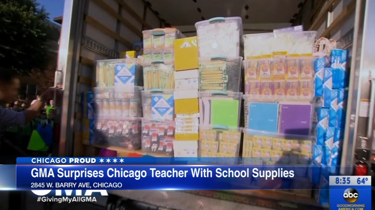 A Chicago Public Schools teacher was surprised with $300,000 worth of school supplies live on Good Morning America.
