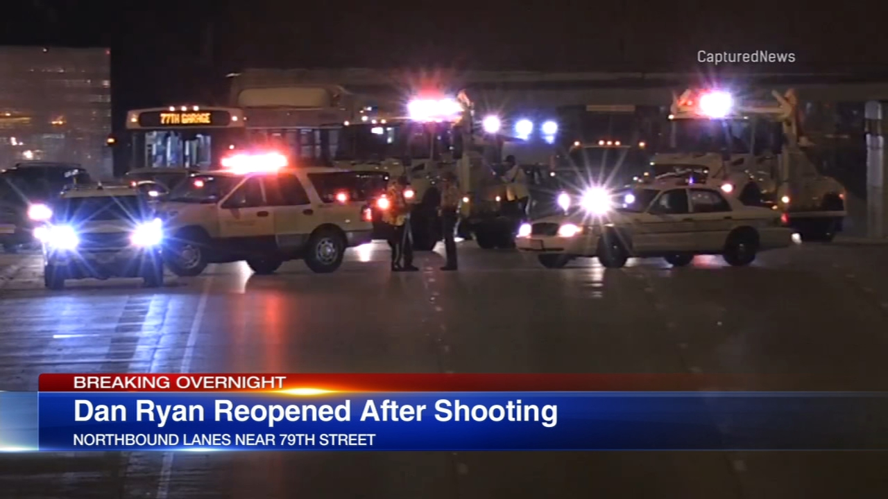 Police closed the Dan Ryan Expressway for hours Sunday night and Monday morning after shots were fired at an SUV.