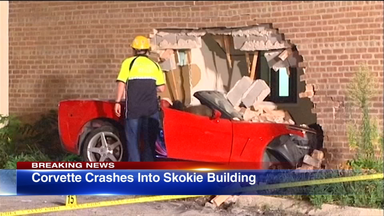 One man has been hospitalized after his Corvette slammed into a building in Skokie Sunday.
