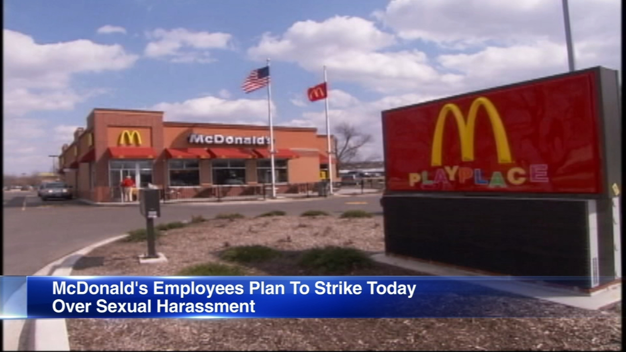 Workers at McDonald's locations in Chicago say they plan to strike Tuesday over sexual harassment.