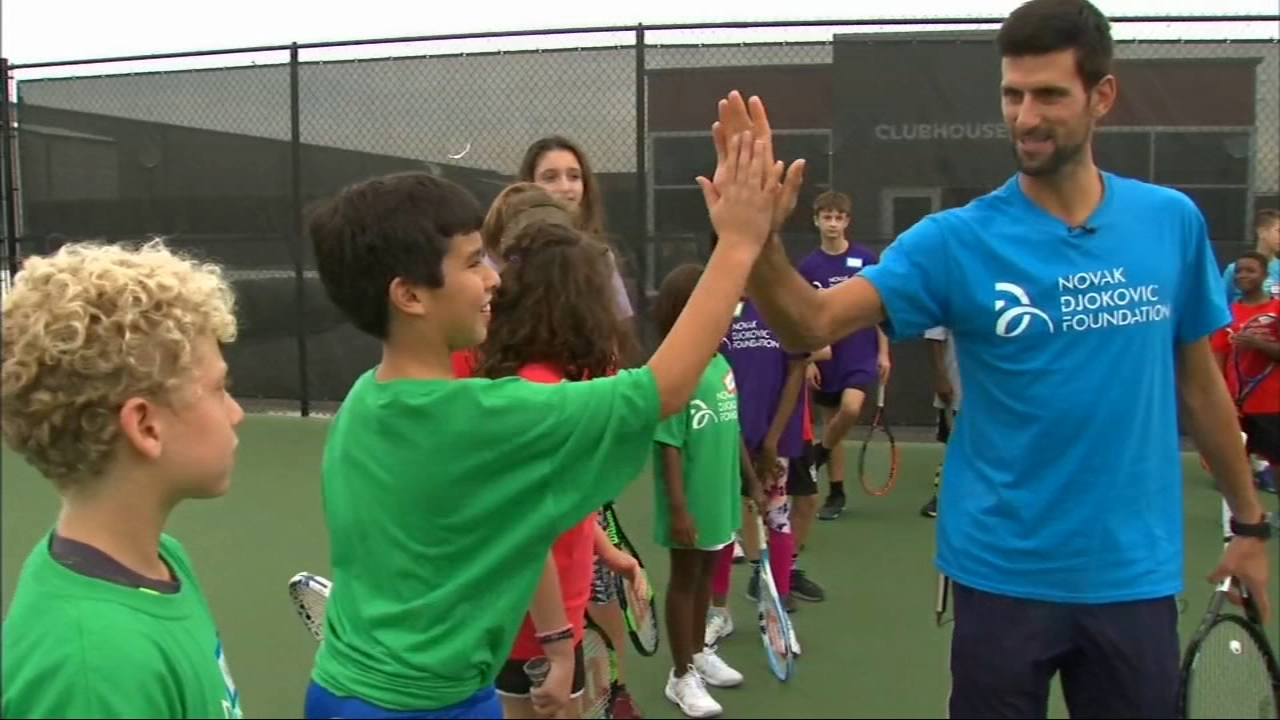 Tennis player Novak Djokovic dropped in on tennis lessons at XS Tennis and Education Foundation on Chicago's South Side.