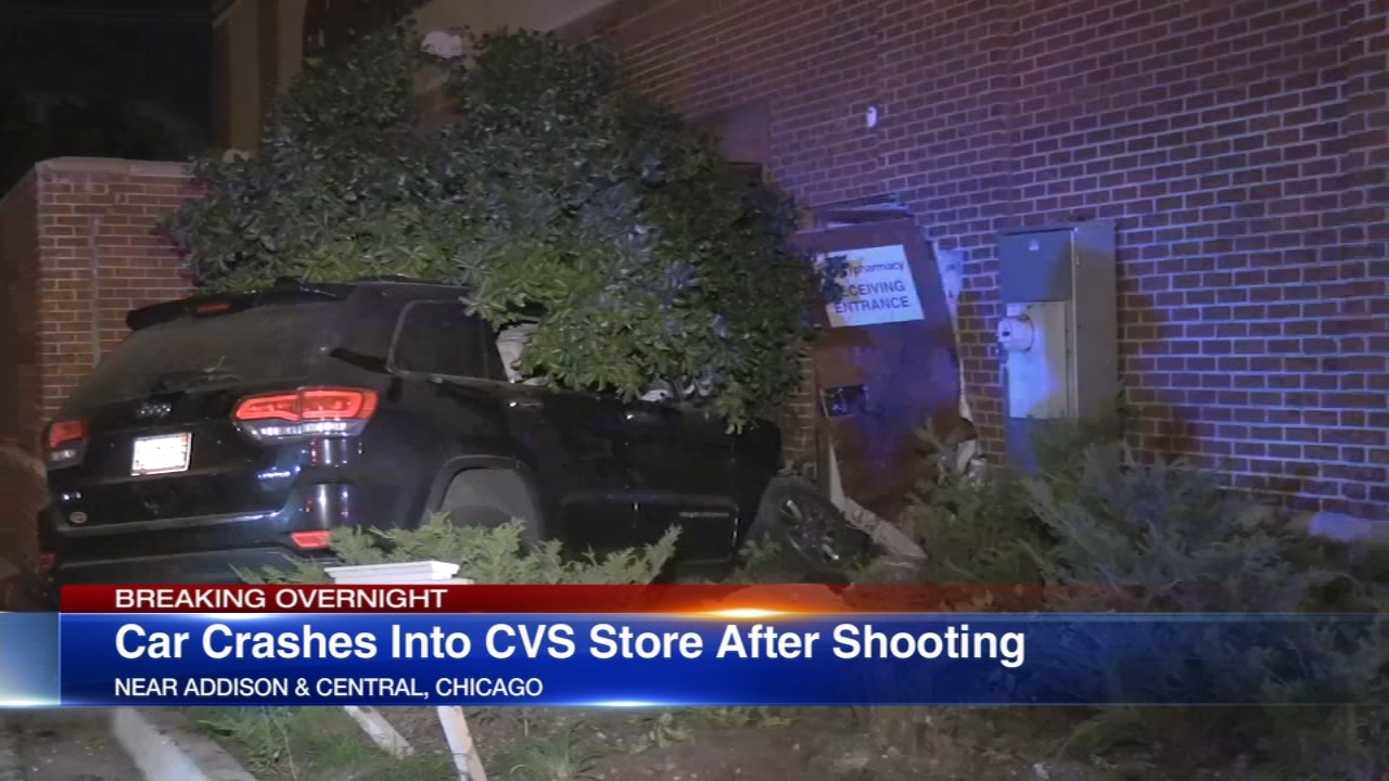 A shooting led to a Jeep crashing into a CVS pharmacy in Portage Park.