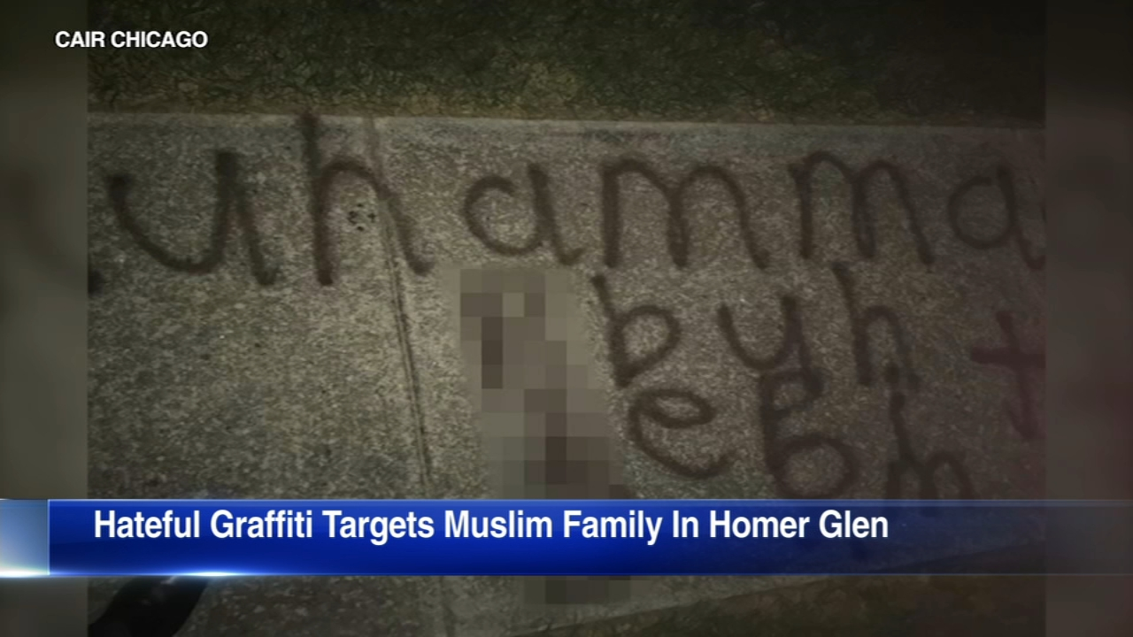 A Muslim civil rights group is calling for a hate crime investigation after Islamophobic graffiti was painted outside a familys home in Homer Glen.