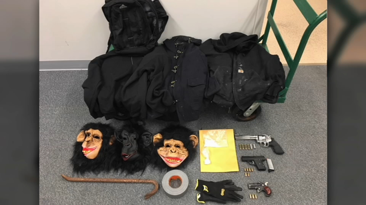 Three Wisconsin men found Wednesday morning near north suburban Antioch with guns, drugs and monkey masks inside their vehicle were on their way to retaliate against another group,